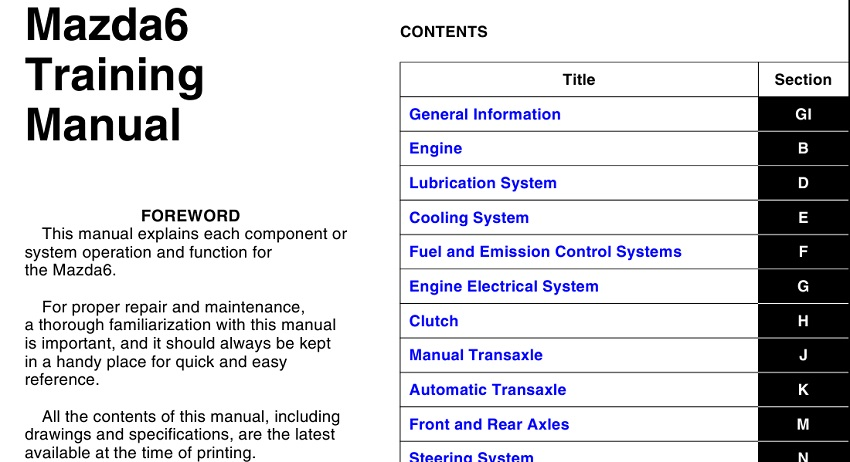 Mazda 6 Training Manual